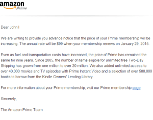 "Amazon's ""Dear John"" letter to Prime users."