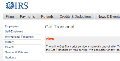 A message on the IRS website hints at trouble.