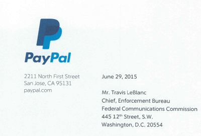 PayPal's letter to the FCC