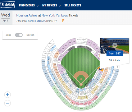 Yankees tickets for sale on StubHub