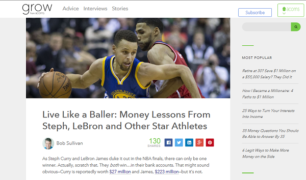 My story on money lessons from athletes. Click to read at Grow.
