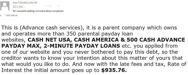 When I tried to get a comment from alleged phantom debt collection company, the firm tried to scam me.