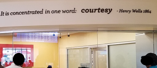 Wells Fargo sums up its business in one word: Courtesy. Others might choose a different word.