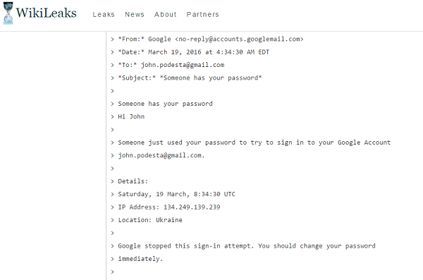Here's the trivial trick used to 'hack' Clinton campaign emails