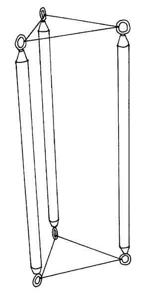 three sticks with eyes at either end, ends connected by string