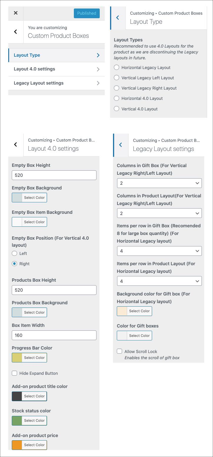 customizer layout options for bundles