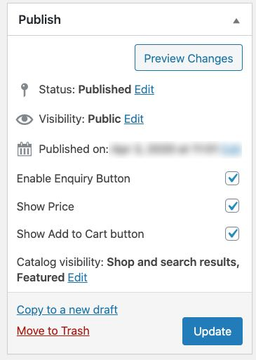 options for showing on product page