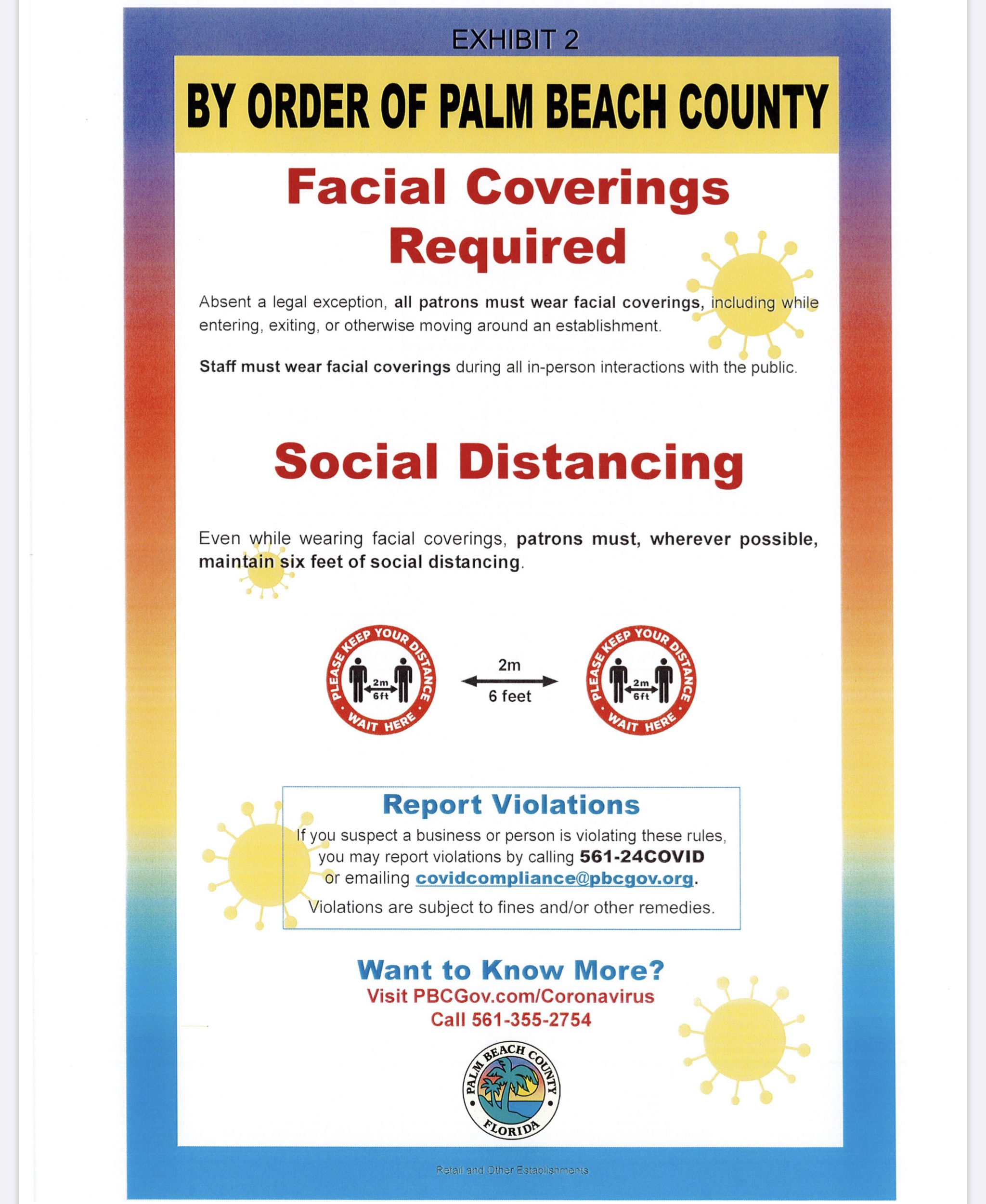 palm beach county facial covering order