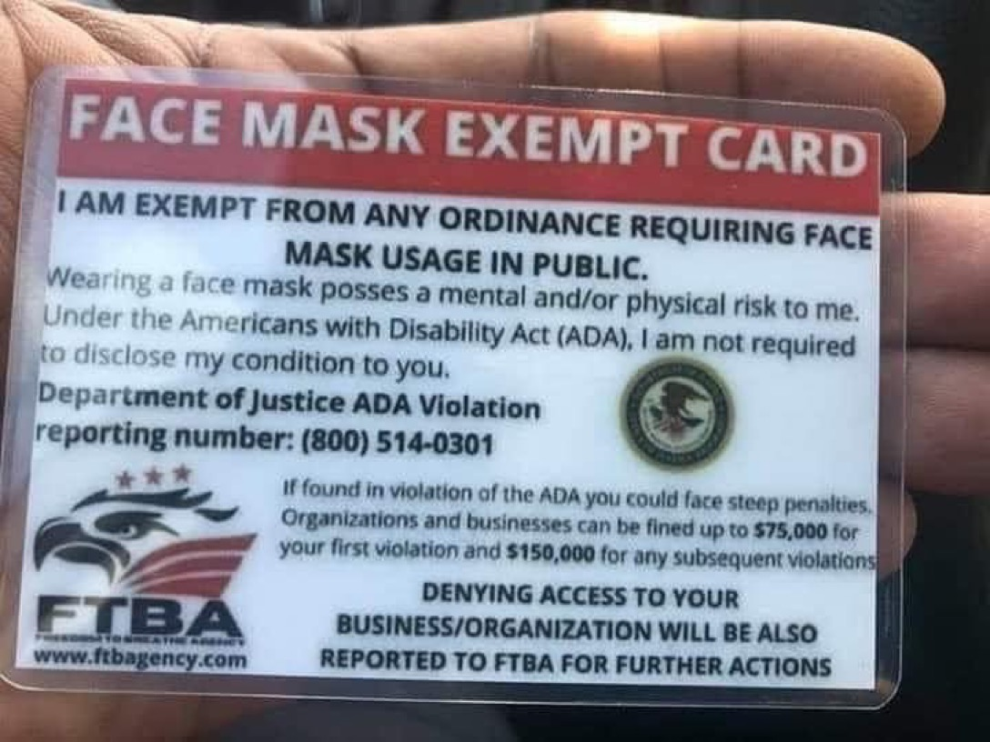 facial covering exemption card