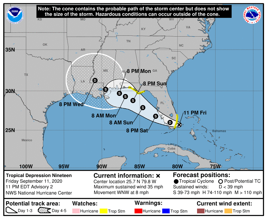 tropical storm florida september 11 2020 11pm