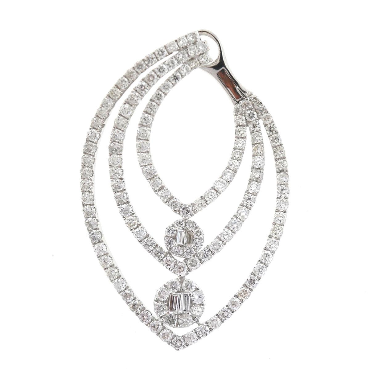 18k White Gold Three Row Prong Set Diamond Earrings