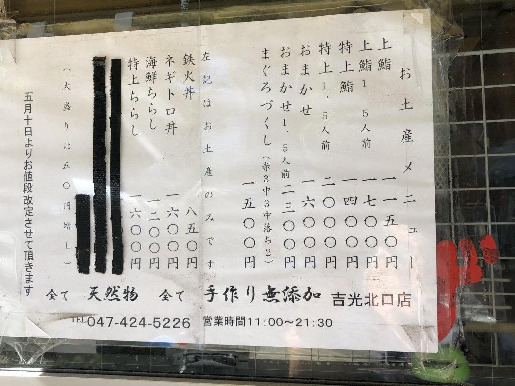 船橋立ち食い寿司吉光メニュー