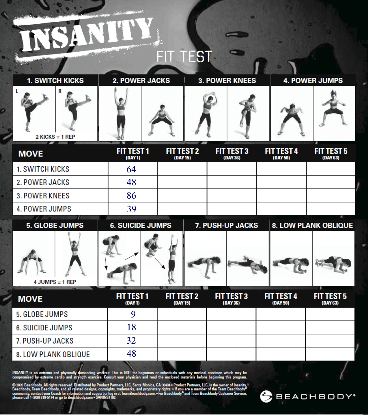 P90x Insanity Hybrid Day 0 Fit Test Amp Schedule