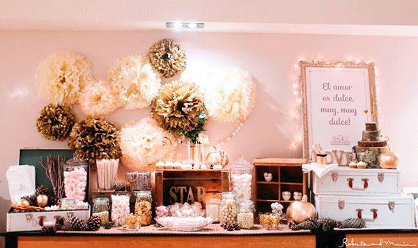 Mesa dulce de la boda de Gloria y Dani, Foto de Roberto y Maria, diseño y decoración Bodas de Cuento wedding planners