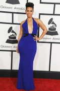 Alicia Keys in an Armani Privé gown, Giuseppe Zanotti heels