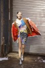 Soo Joo Park in Versace with a Marc Jacobs coata and a Comme des Garcon cardigan