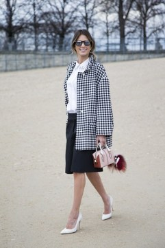 Helena Bordon in Viktor & Rolf with a Prada jacket, Gianvito Rossi shoes and a Fendi monster
