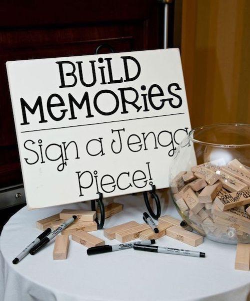 Люблю это DIY Jenga Гостевая книга свадебная идея.