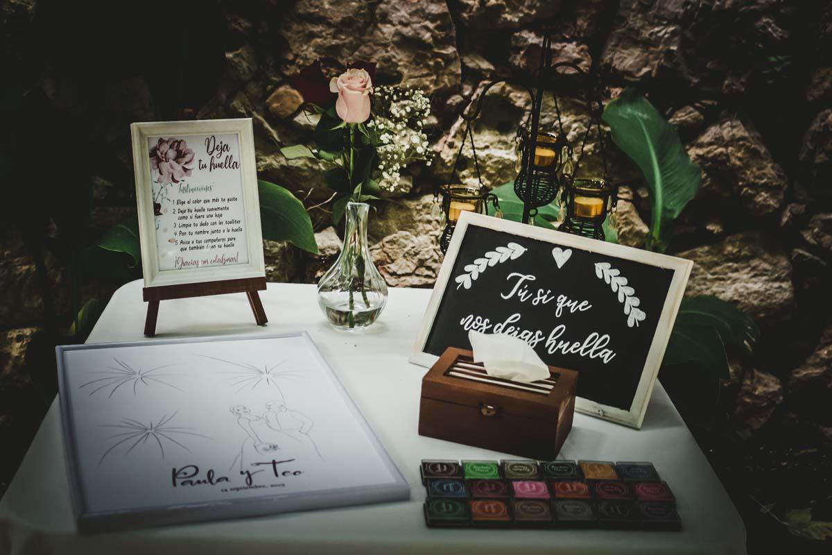 Firma de invitados en la boda