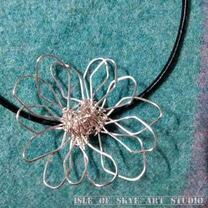 Wirework Flower Necklace by Marion Boddy-Evans Isle of Skye Art Studio Scotland