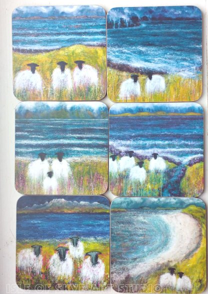 Sheep coasters by Marion Boddy-Evans Isle of Skye Art Studio