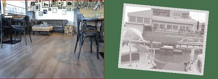 Designflooring renoviert mit Designbelag exklusives Yachthafen-Restaurant