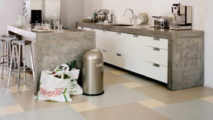 Marmoleum Click Linoleum Parkett in der Küche
