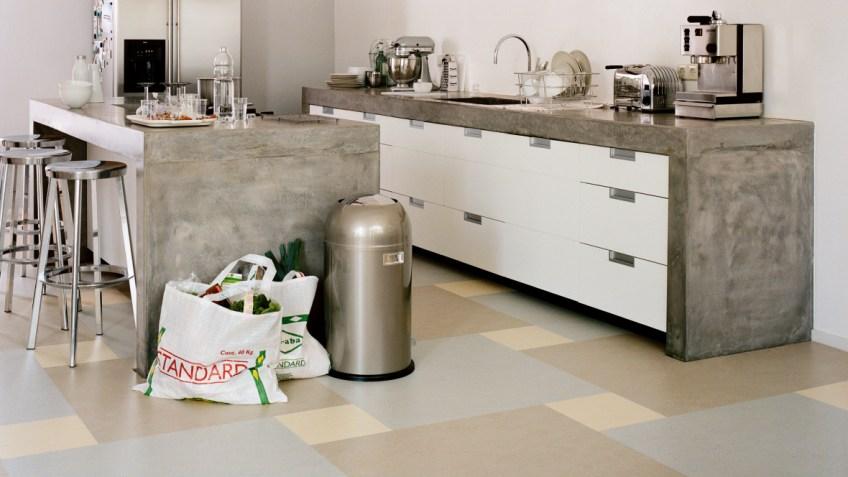Marmoleum Click Linoleum Parkett in der Küche - Bodenbeläge ...