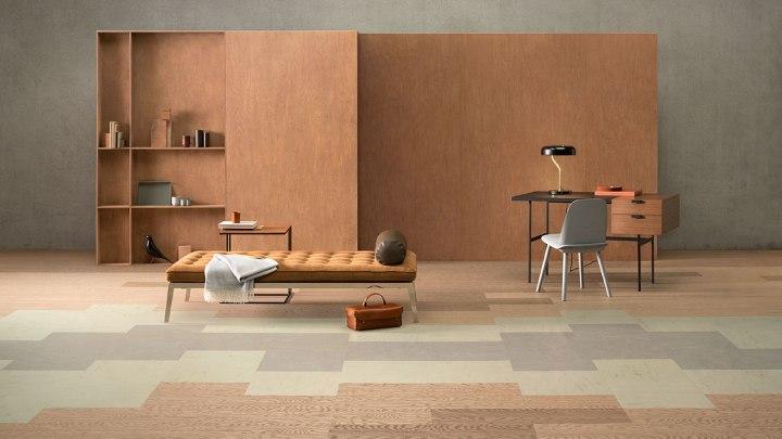 forbo marmoleum modular Kombination mit Linoleum Designbelag Planken