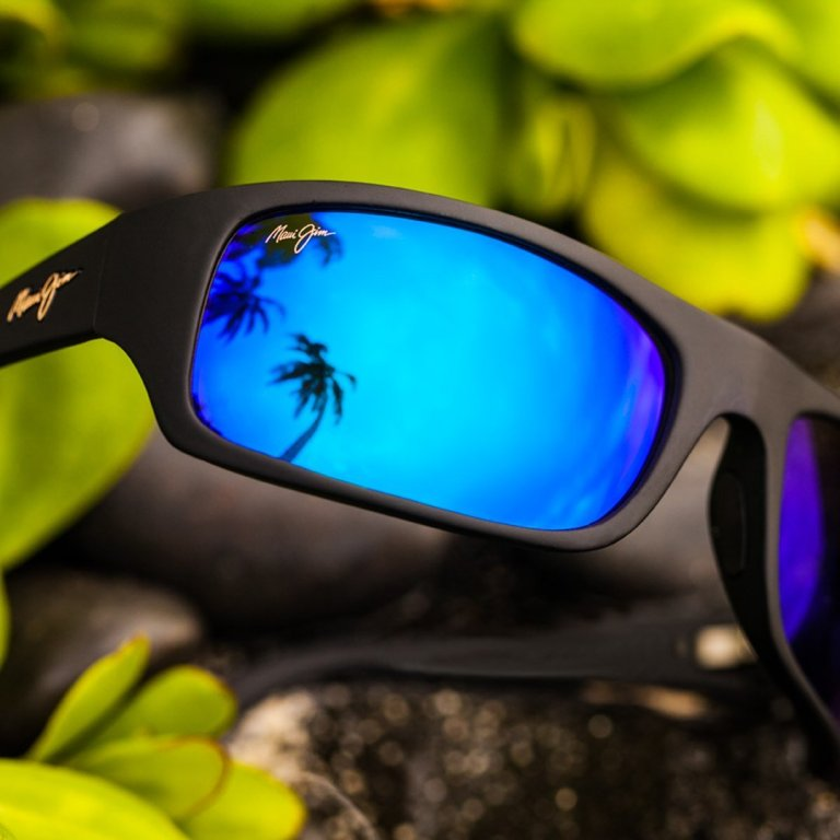 Black plastic rimmed polarized Maui Jim sunglasses