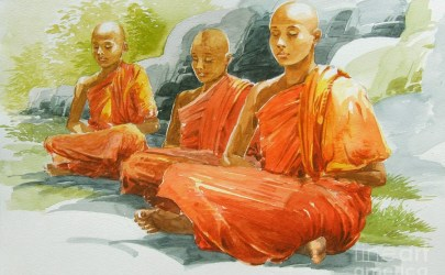meditating-buddhist-monks-blissful-by-sarath-dissanayake