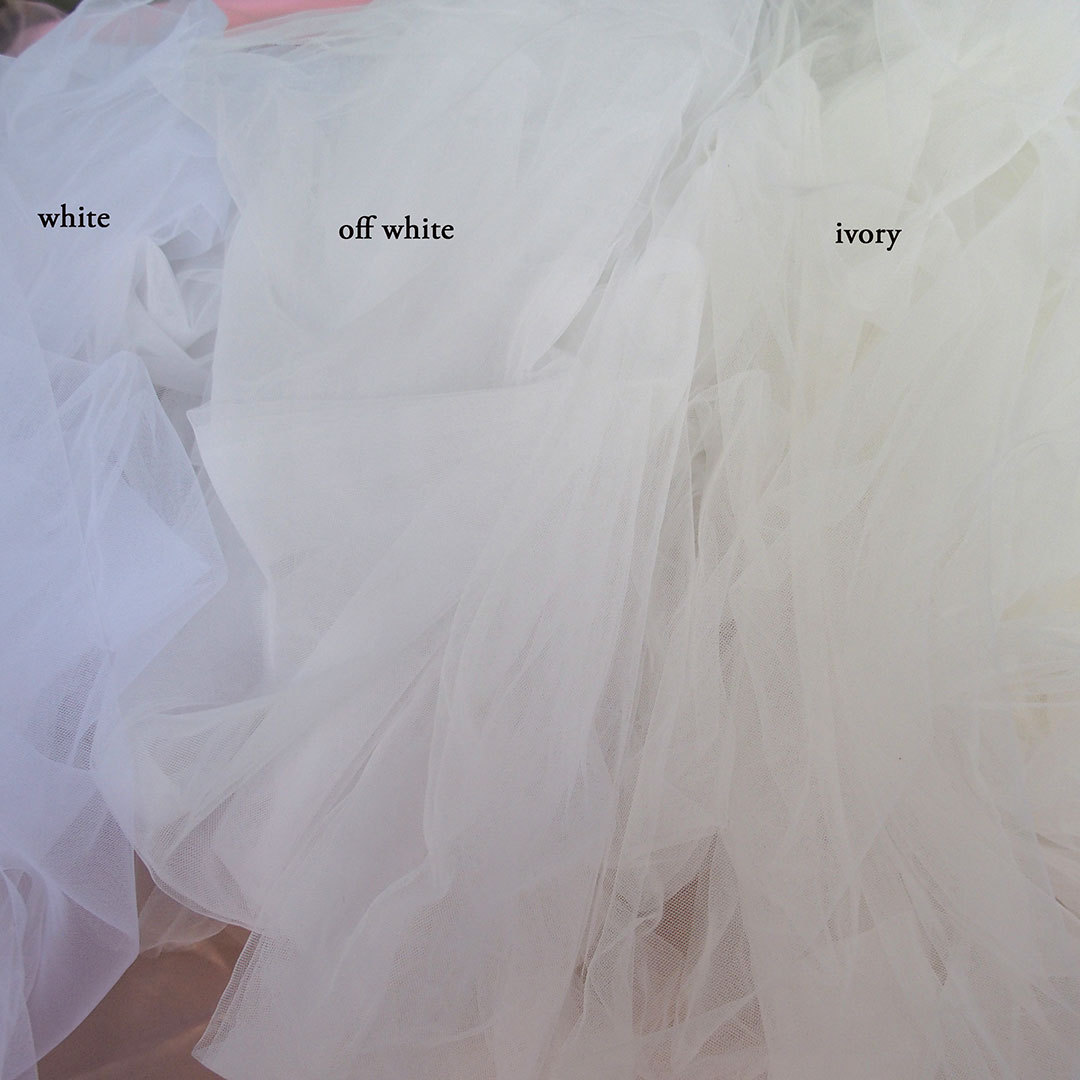 soft veiling tulle white ivory 3m wide  Bodikian Textiles