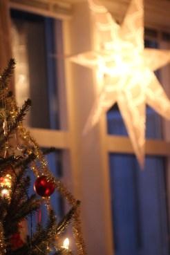 Juletre og julestjerne i vinduet