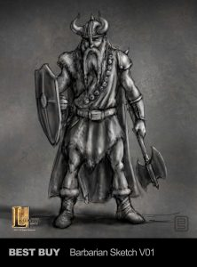 Best Buy barbarian sketch designed for Legacy Effects.