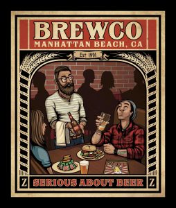 """Brewco Serious About Beer poster. The owner commissioned me to create a Brewco version of the New Yorker cover featuring the illustration """"Hip Hops"""" by Peter de Seve."""