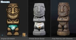 Huggies tiki character illustrated and sculpted in Zbrush for Legacy Effects.