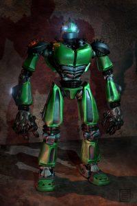 Green robot design.