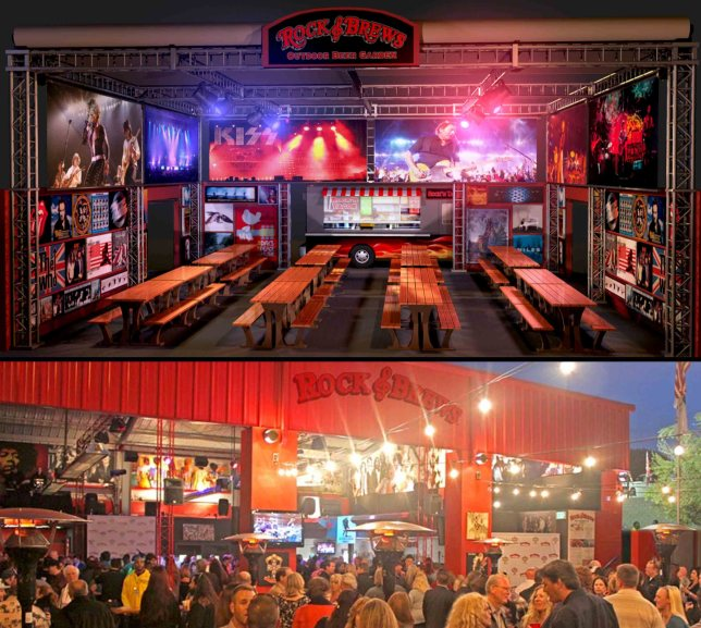 Top Image: 3D environment model render of the Rock & Brews Beer Garden concept. Bottom Image: Opening night at the Rock & Brews Garden on Main in El Segundo, CA.