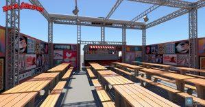 Rock & Brews 40′ x 40′ outdoor beer garden daytime render.