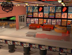 Floyds Barbershop rock & roll merch shop concept designed for The Studio El Segundo.