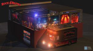 Rock & Brews 40′ x 40′ outdoor beer garden concept with Rock'n Taco truck.