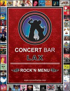 Concert Bar LAX Rock'n Menu designed for The Studio El Segundo.