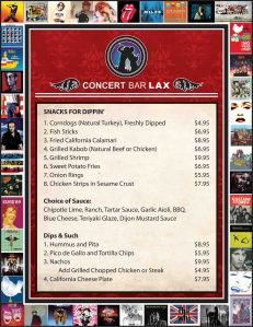 Concert Bar LAX Rock'n Menu designed for The Studio El Segundo.