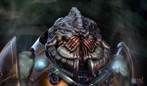 Alien soldier concept- head detail.