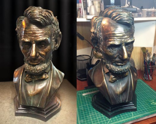 Abe Lincoln bronze cast of 3D sculpt.
