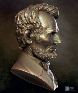Abe Lincoln Bust sculpt- profile view
