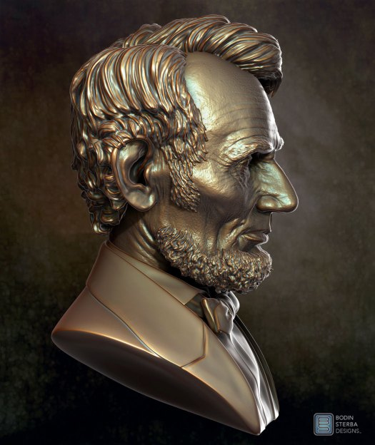 Abe Lincoln Bust sculpt- profile view