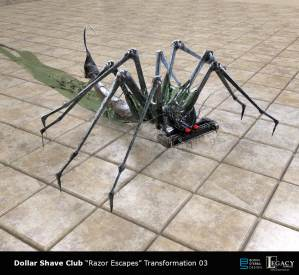 "Dollar Shave Club early ""Razor Escapes"" design. The agency asked to see what Razor Escapes could look like as a slimy insect or spider-like creature skittering away."