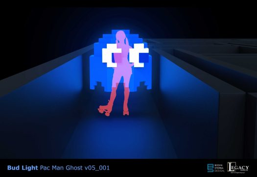 3D Pac Man ghost design for Bud Lite Superbowl 2015 commercial