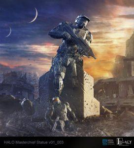 Masterchief statue design for Halo 5 Guardians commercial